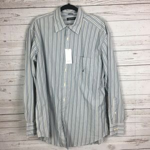 Nautica Men's LS Navy Blue Striped Shirt Large B6